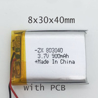 10pcs 803040 lithium polymer lipo battery 3.7V rechargeable li ion cell 950mah for digital bluetooth device with PCB protected