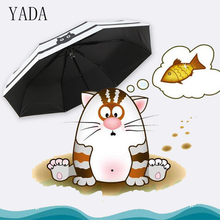 YADA Cats Fish Pattern Charms Folding Umbrella Rain Women uv High Quality For Womens Korea Style Stripe Umbrellas YS427