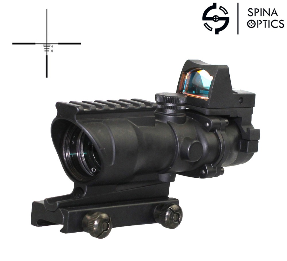 SPINA OPTICS Tactical RifleScope Acog 4x32 Red Green Illumination Red Dot with Markings For Shooting Rifle цена и фото