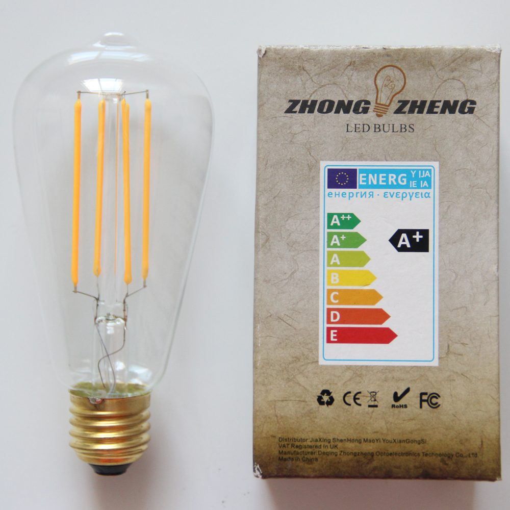 Uncleahtoh 10PCS ST64 A19 4W Dimmable LED Filament Bulb 60W Equivalent 2700K Warm White Light E26 E27 360 Degree Beam Angle Lamp 15w dimmable led br40 light bulb e27 e26 screw base wide beam angle 120 degrees 100w halogen bulb equivalent