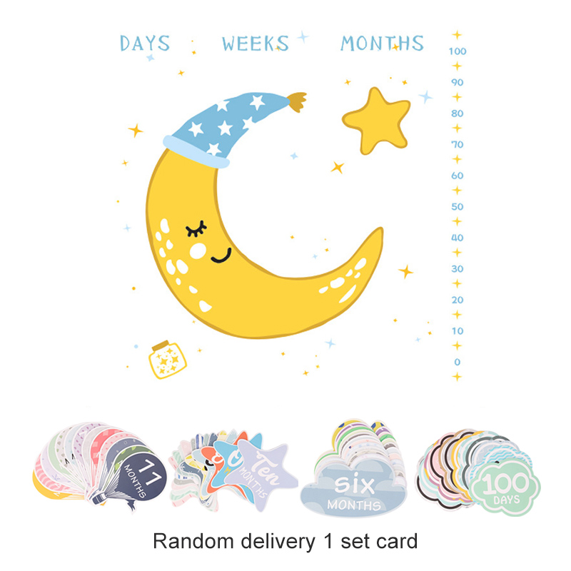 Infant Baby Milestone Blanket DIY Photo Photography Props Newborn Moon Letter Printed Monthly Growth Blankets Backdrop Cloth