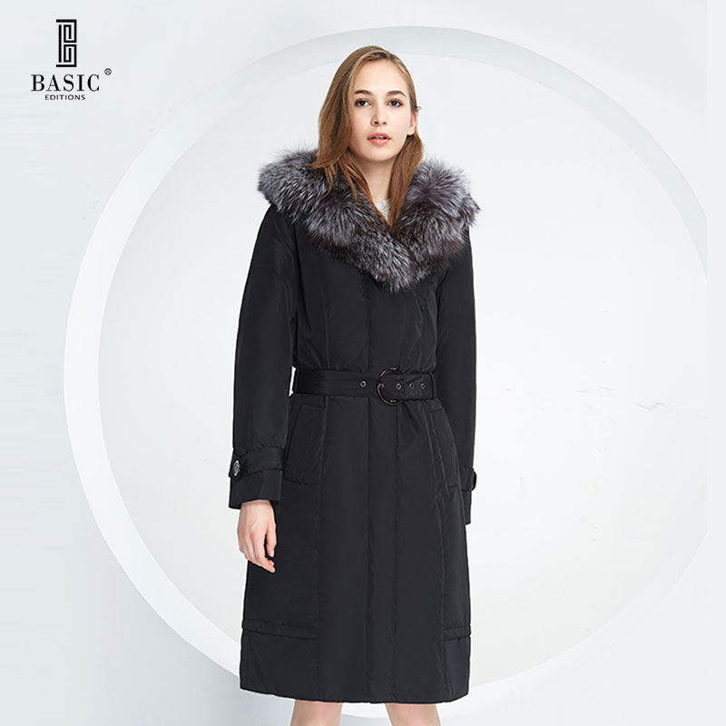 BASIC EDITIONS Winter Slim Long Parka Padding Polyester Fox Fur jackets With Belt Cotton Coat Women - 12W-30 Free shipping basic editions fall winter brown metallic silk fabric cotton coat with rabbit fur collar with belt covered button 7001d11