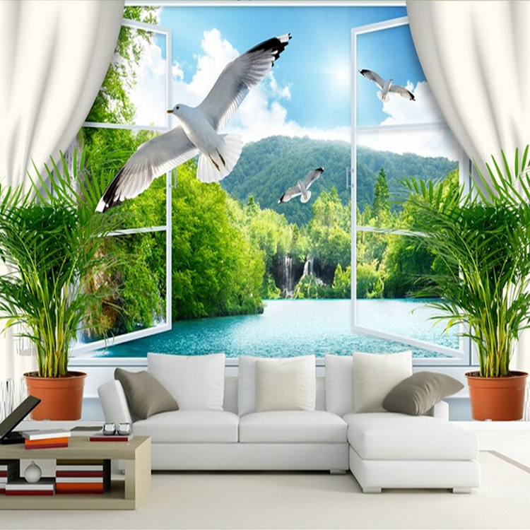 Custom 3d mural 3D stereo room wallpaper background wallpaper romantic sea gull mural false window wallpaper mural
