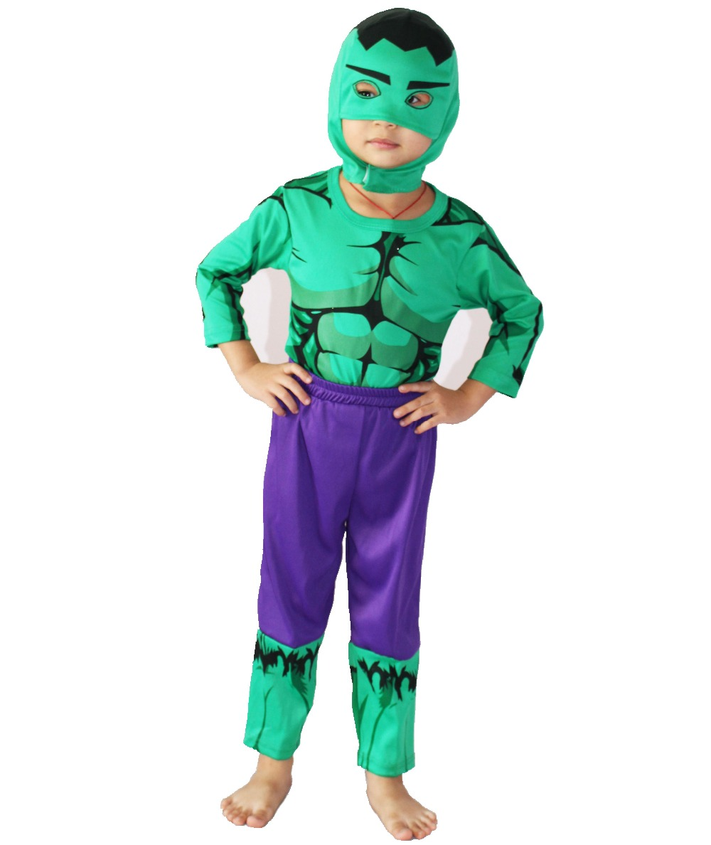 Хэллоуин костюмдері Балалардың косплей киімі Рөлдік рөлдік ойын Хулк (комикс) үлгі киімі (Coat + шалбар + сорғыш) өлшемі: S-XXL