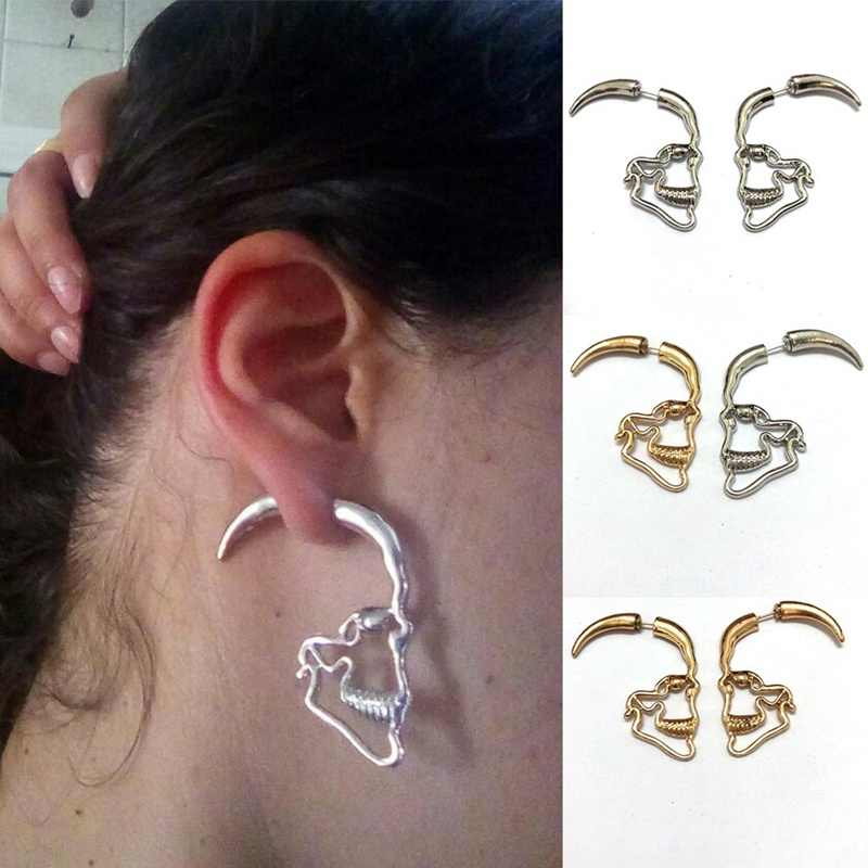 Novo steampunk prata cor crânio brincos do parafuso prisioneiro vintage retro oco esqueleto piercing orelha gótico punk jóias