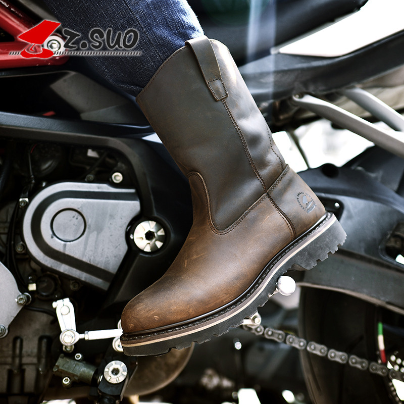 Z Suo fashion men women motorcycle Leather boots high quality in tube retro western boots Motocross