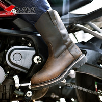 Z.Suo fashion men women motorcycle Leather boots high quality in tube retro western boots Motocross Motorbike Riding Boots