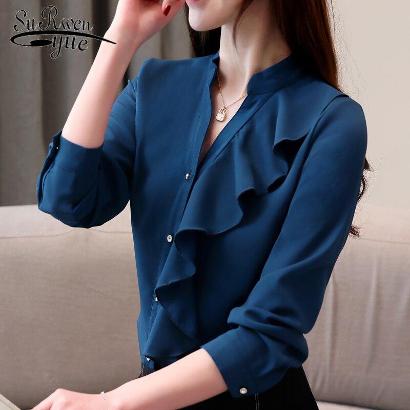 De V Gasa Manga rosado 2330 Tops blanco Mujer Cuello Moda 50 Larga Camisa Blusa Oficina Volantes Camisas 2019 Azul Xz7Ixx1qw