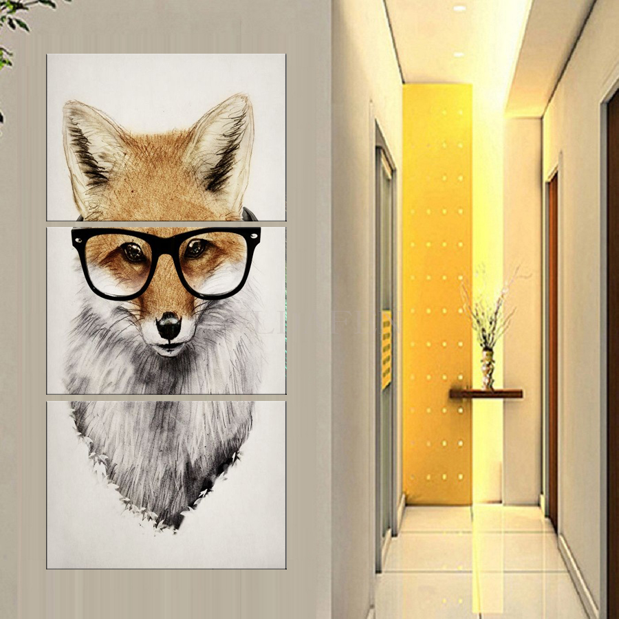 HD print 3 pieces canvas art Abstract animal poster A fox with eyes ...