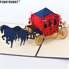 FUNNYBUNNY Pop Up Thank You Cards 3D Carriage Birthday Card Blank Envelopes for Valentines Wedding Bridal Shower