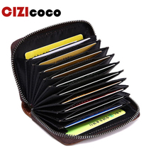 Women And Men Genuine Leather Credit Card Holder Fashion Zipper ID Blocking Wallets With RFID