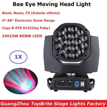 Bee Eye 19X15W RGBW 4In1 LED Moving Head Beam Light DMX Controller Wash Zoom Light Professional Dj Lighting Effect Stage Light new 6x15w led bee eyes moving head rgbw 4in1 stage light dj euiqpment 11 14 dmx channels mini led moving head beam light