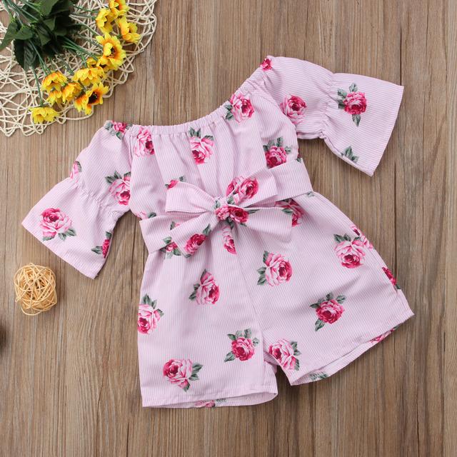 Baby Girls' Floral Romper Off Shoulders