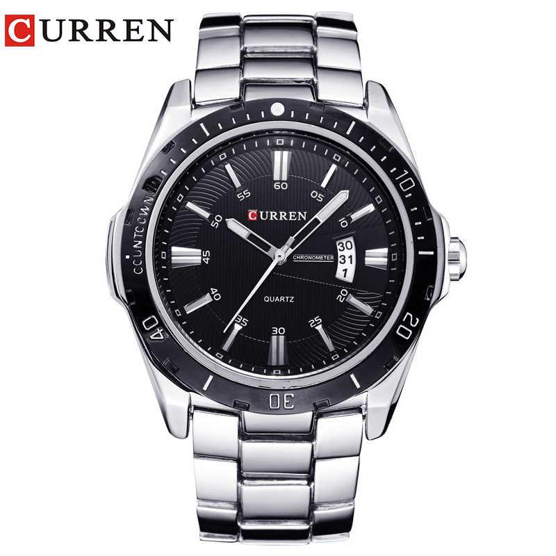 Yeni curren saatler erkekler üst marka moda İzle quartz saat erkek relogio masculino erkekler ordu spor Analog rahat 8110