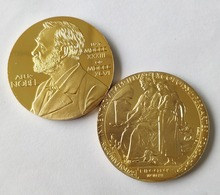 Nobel Prize in Physiology Medicine Lenin gold plated Nobel Head Portrait Coin Commemorative coins, DHL free shipping 50pcs/lot цена