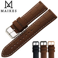 MAIKES Good Quality Silicone Band Men 20mm 22mm Rubber Watchband Strap Brown Watches Bracelet Belt For