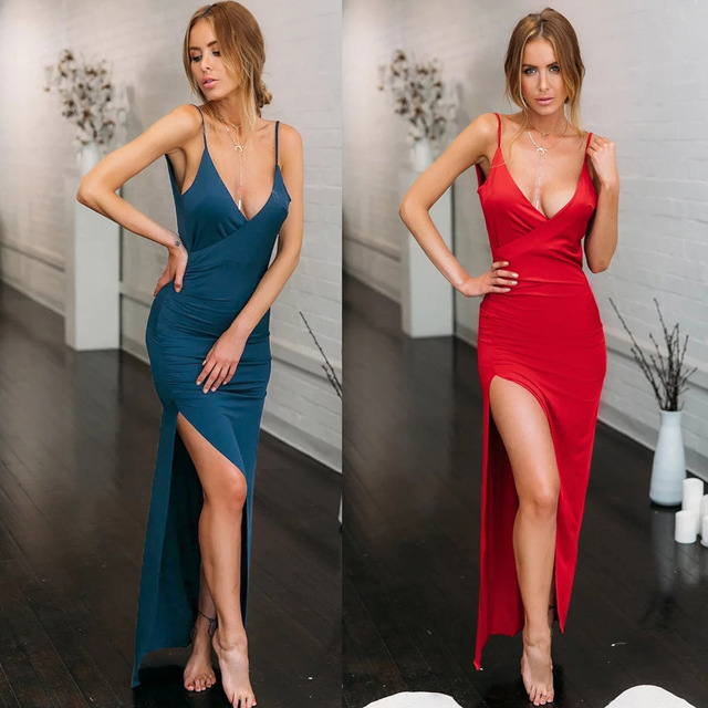 Bodycon Women Red Blue Long Sexy Off Shoulder Maxi High Split Slip Satin  Dress Erotic Backless Nightdress Party Night Club Dress 8d9d923284d4
