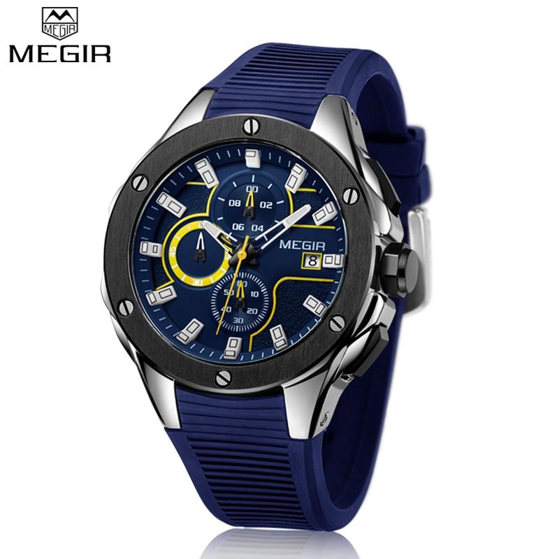MEGIR новый бренд кварцевые часы Для мужчин Одежда высшего качества хронограф функции часы Водонепроницаемый силиконовые каучуковый ремешок...