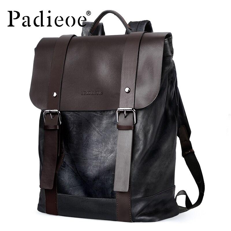 Padieoe Couro Rachado da Vaca dos homens de Alta Qualidade Mochila Moda Bookbags Mochilas Universitários Do Vintage Masculino bolsa Para Laptop de Viagem Venda Quente