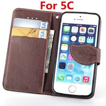 For Apple iPhone 5c Case Leaf Clasp Flip Leather Cases Covers Stand Function Card Slot Wallet Case black Cover For iPhone5c