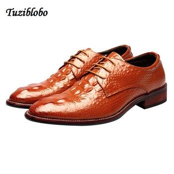 Super Star Men Dress Shoes Red Yellow Black Men Crocodile Pattern Dress Shoes Wedding Formal Pionted Toe Shoes Big Size 6-10
