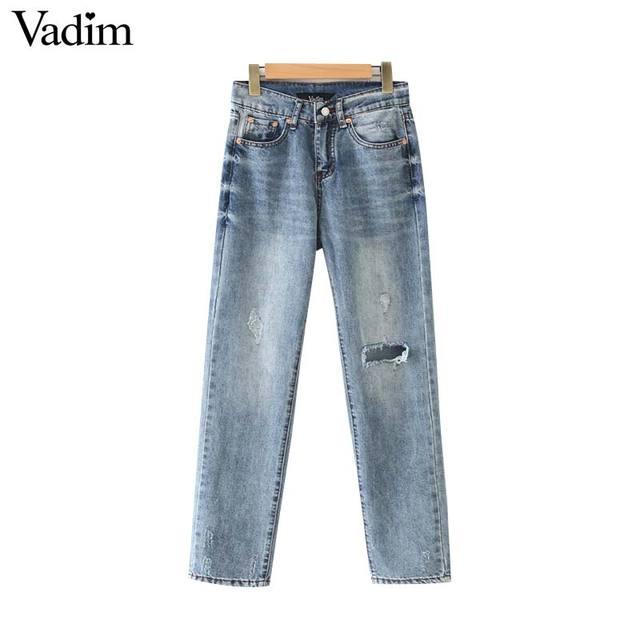 Vadim נשים אופנתי ג 'ינס קרסול אורך ג' ינס חורי כיסי רוכסן לטוס עיצוב מכנסיים מזדמנים נקבה שיק מכנסיים pantalone KA944