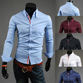 2015 Plus XXXL Size 5 Color Fashion Ribbon Front fly Mens Dress Shirts Slim Fit Casual Long sleeve Social Camisa Masculina