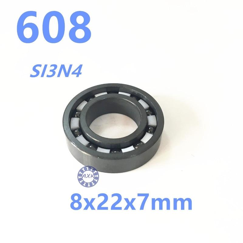 все цены на Free shipping 608 full SI3N4 ceramic deep groove ball bearing 8x22x7mm skatebord bearing