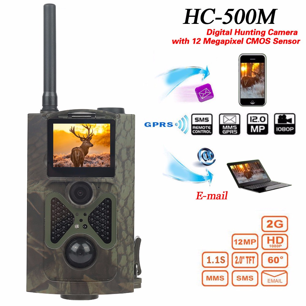 HC500M HD GSM MMS GPRS SMS Control Scouting Infrared Trail Hunting Camera HC-500M hc500m hd gsm mms gprs sms control scouting infrared trail hunting camera with 48pcs ir leds night vision wildlife surveillance