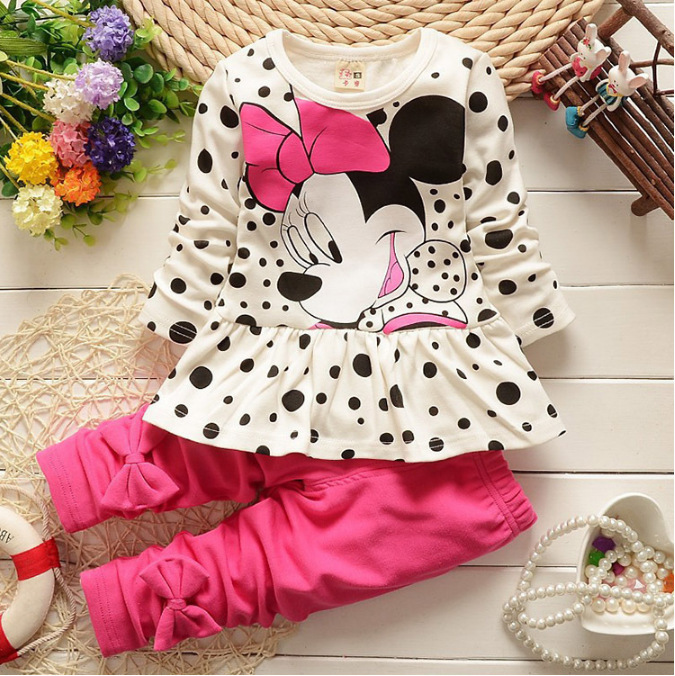 купить Baby Girl Clothes 2018 Spring Autumn Cartoon Polka Dot Long Sleeved Dress Tops + Leggings 2PCS Outfits Kids Bebes Jogging Suits недорого