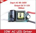 10 W 3x3 W LED Driver de fonte de Alimentação de Entrada AC 110 V-240 V Saída 9-12 V 900mA Iluminação Transformadores Para 9 W 10 W LED Light Bulb lâmpada