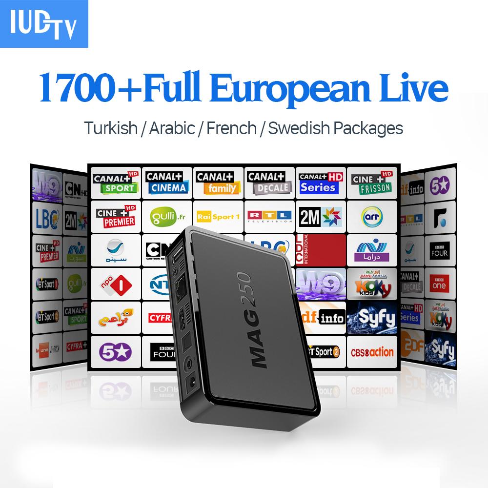 Prix pour Mag 250 boîte iptv HD europe Linux IUDTV 1700 Canaux Arabe IPTV Compte Abonnement 1 an Français Italien portuga Set Top Box