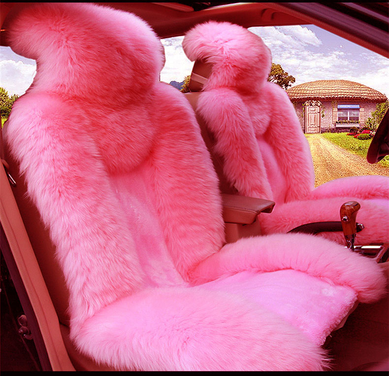 Comfortable 5Pcs Fur Pink Wool Furry Fluffy Thick Car Seat Steering