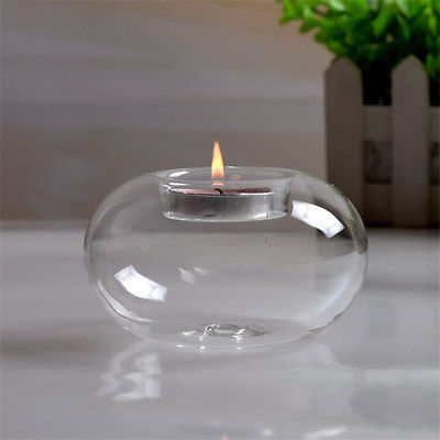 1Pcs Clear Round Hollow Heat Resistant Glass Crystal Candle Holders Case Container Candlestick Candler Holder 8/10/12CM 6