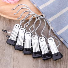 12pcs Portable Laundry Hook Hanging Clothes Pins Stainless Steel Travel Home Clothing Boot Hanger Hold Clips(China)