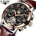 LIGE Automatische Mechanische Tourbillon Herren Uhr Mode Luxus Marke Leder Kalender Stahl Sport Uhren Relogio Masculino + Box