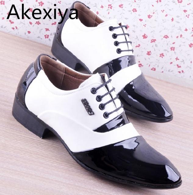 Akexiya Men's PU Leather Fashion Men Shoes  Men Dress Shoes White Black Male Soft  Wedding Oxford Shoes Lace-Up Formal Shoes