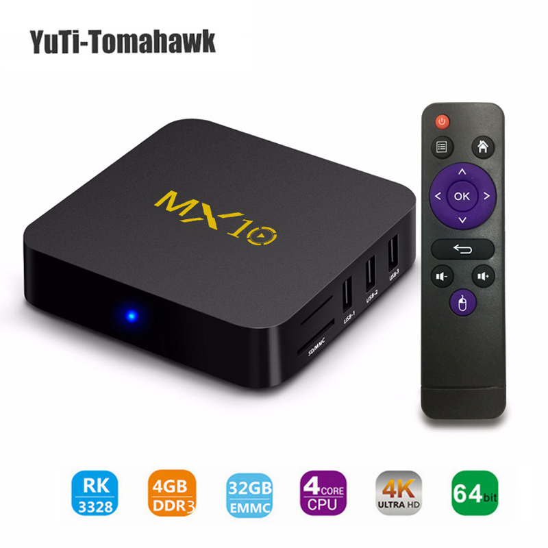 TV BOX,MX10 Android 8.1 MiNi PC, DDR3 4GB 32GB Support 2.4G Wifi Connected 64bit Quad-Core 3D 4K HDR Video Playing TV Box