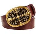 Fashion mens belt metal buckle waistband big cross pattern belt golden Arabesque women's jeans belt fancy punk Decorative strap