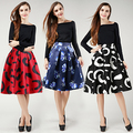2016 Autumn Winter Floral Print Hepburn Saias Midi High Waist Pleated A Line Skirt Women High Waist Vintage Saia Femininas