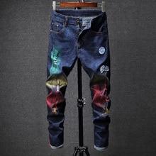 Hombre Jeans pantalones Pantacourt Homme hombres clásicos flaco Hiphop Punk  Narrow moda Casual Baggy Joggers diseñador alta cali. 445e558cfb6