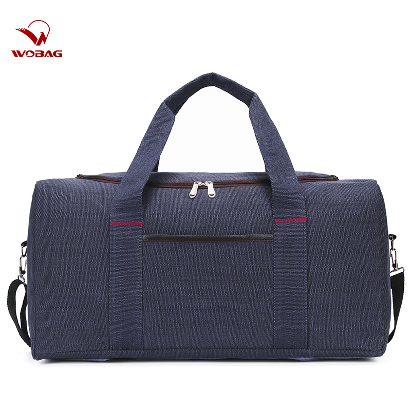 Wobag Canvas Duffle Bag Large Capacity Travel Bags Hand Luggage Casual Men Sport Gym Bag Women Travel Bag Organizer