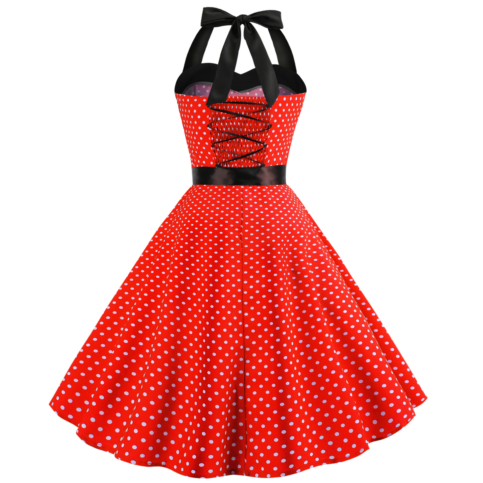 2019 Retro Polka Dot Hepburn Vintage Sexy Halter Party Dress 50s 60s Pin Up Rockabilly Dresses Robe Plus Size Elegant Midi Dress in Dresses from Women 39 s Clothing