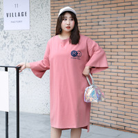 Large size women's fat mm2019 summer Korean version of the 200 pounds loose thin smiley print T shirt X058