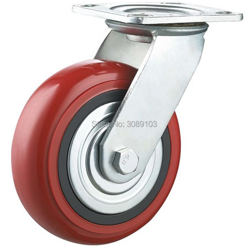 "TWO Medium Duty 4/"" Caster All Swivel Plate Red Polyurethane Wheels with Brake"