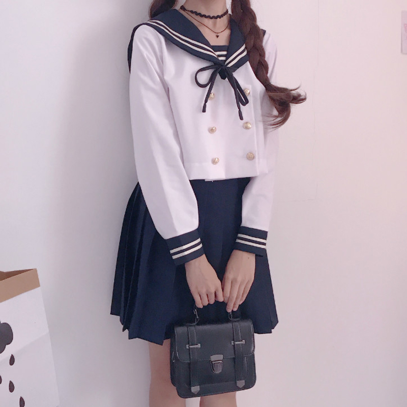 Chorus Performance School Uniform Dress Long Sleeve Shirt Pleated Skirt Sailor Suits Winter Japan School Girl Seifuku Uniforms