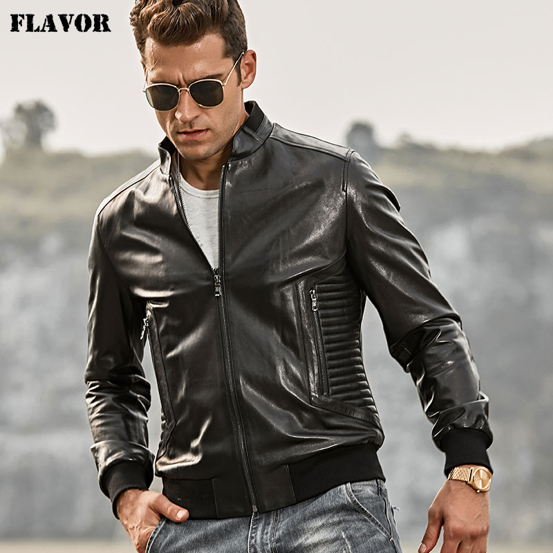 FLAVOR Men's Real Leather Jacket Motorcycle Slim Fit Lambskin Genuine Leather Jacket Coat With Standing Collar Black Rib Cuff