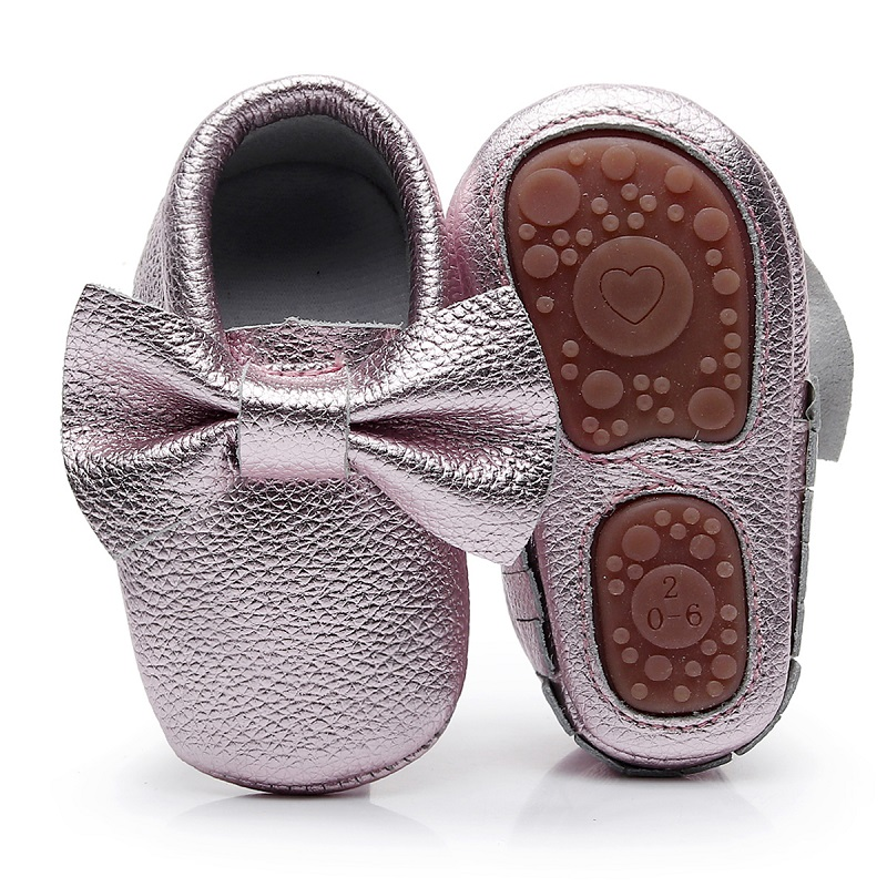 New Rubber bottom Fringe bow baby shoes high quality genuine leather Newborn baby moccasins first walker boot for 0-24M