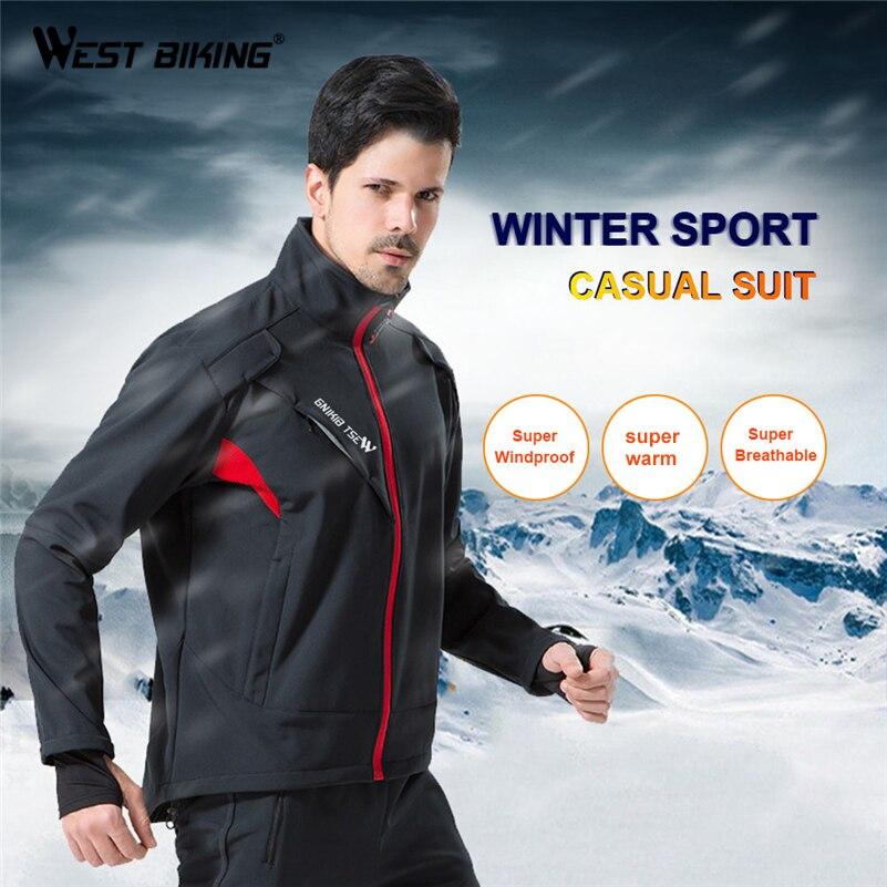 WEST BIKING термальность велосипед куртка + мотобрюки зима теплая Велосипедный спорт костюмы ветрозащитный дышащий MTB Пальто Ciclismo Велос