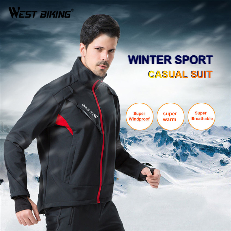 WEST BIKING Thermal Bike Jacket + Trousers Winter Warm Up Bicycle Clothing Windproof Breathable MTB Coat Ciclismo Cycling Jacket цена